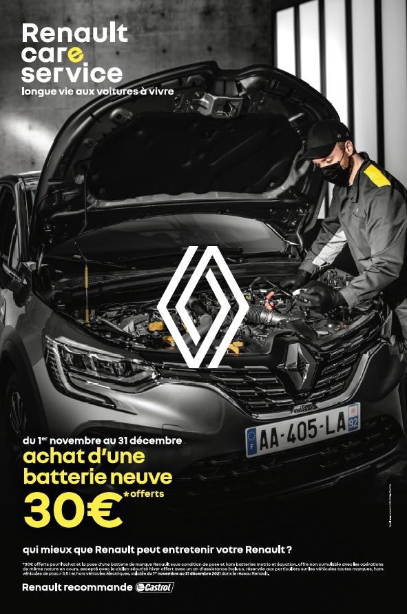 Promotion Renault care service achat batterie neuve -30 € offerts