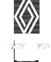 Logos Renault et Dacia blancs